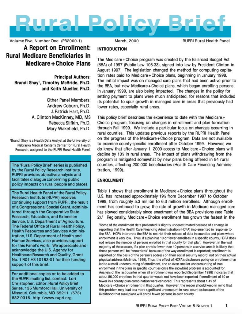 Report on Enrollment: Rural Medicare Beneficiaries in Medicare+Choice Plans (Cover Image)
