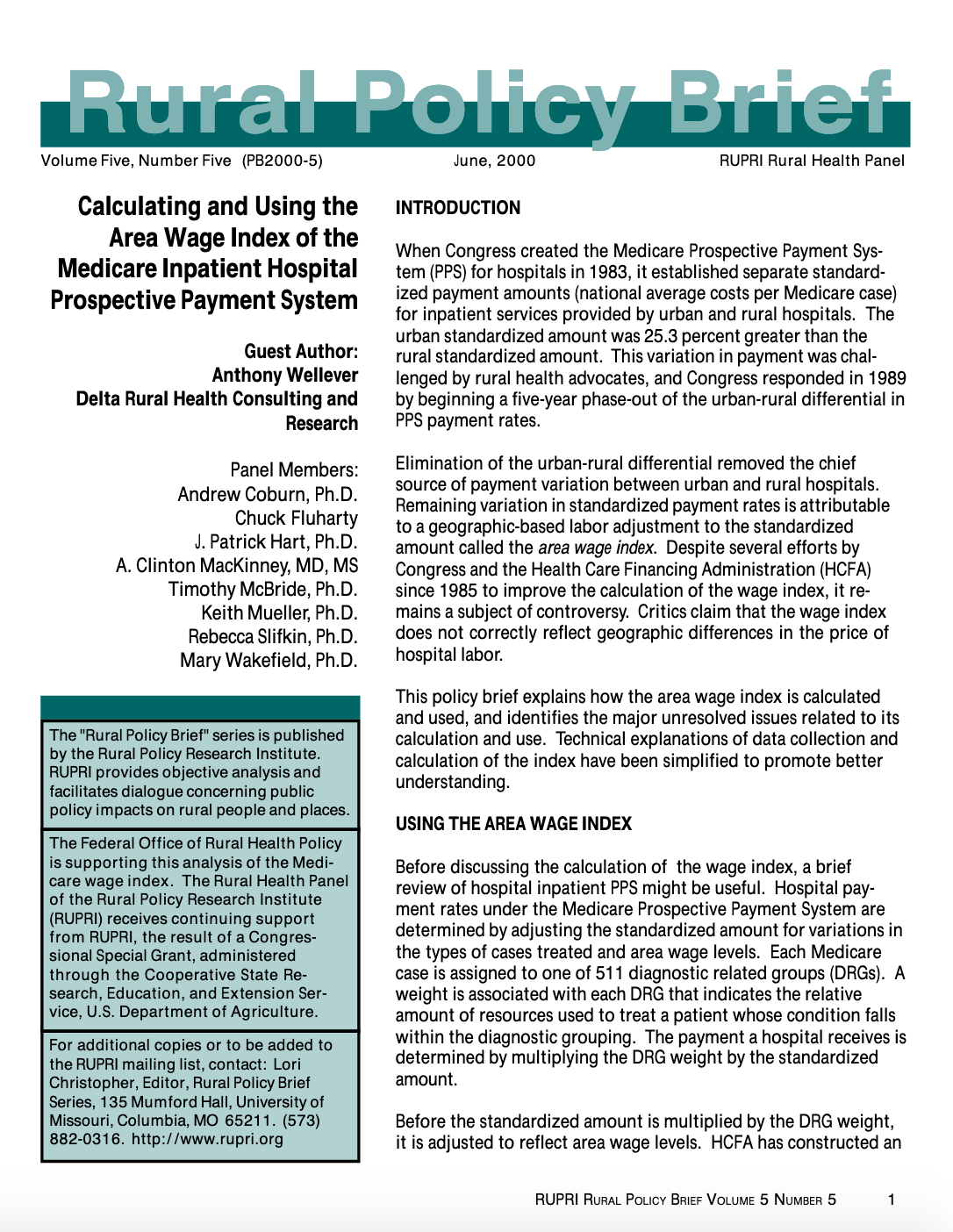Calculating and Using the Area Wage Index of the Medicare Inpatient Hospital Prospective Payment System (Cover Image)