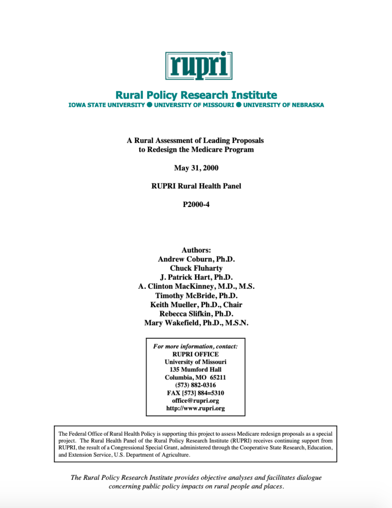 Rural Assessment of Leading Proposals to Redesign the Medicare Program (Cover Image)