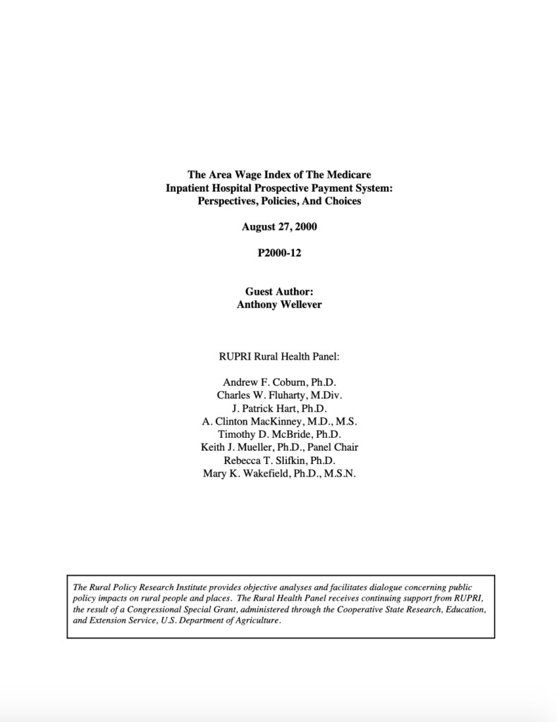 Area Wage Index of the Medicare Inpatient Hospital Prospective Payment System: Perspectives, Policies, and Choices (Cover Image)