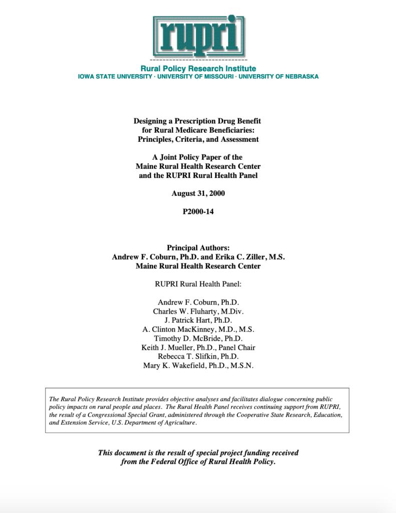 Designing a Prescription Drug Benefit for Rural Medicare Beneficiaries: Principles, Criteria, and Assessment (Cover Image)