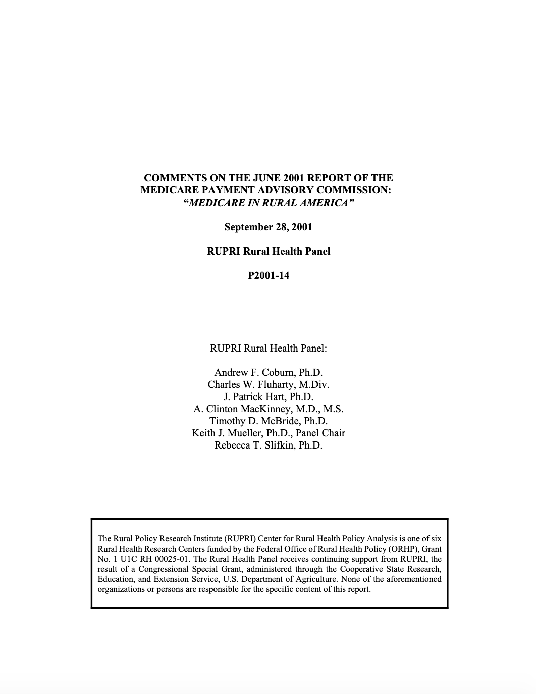 Comments on the June 2001 Report of the Medicare Payment Advisory Commission: Medicare in Rural America (Cover Image)
