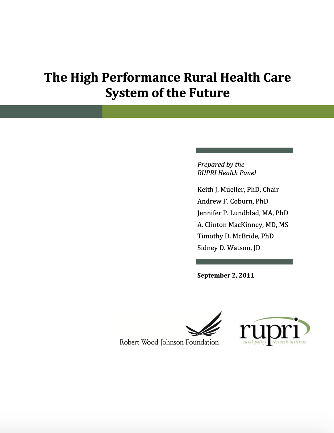 High Performance Rural Health Care System of the Future (Cover Image)
