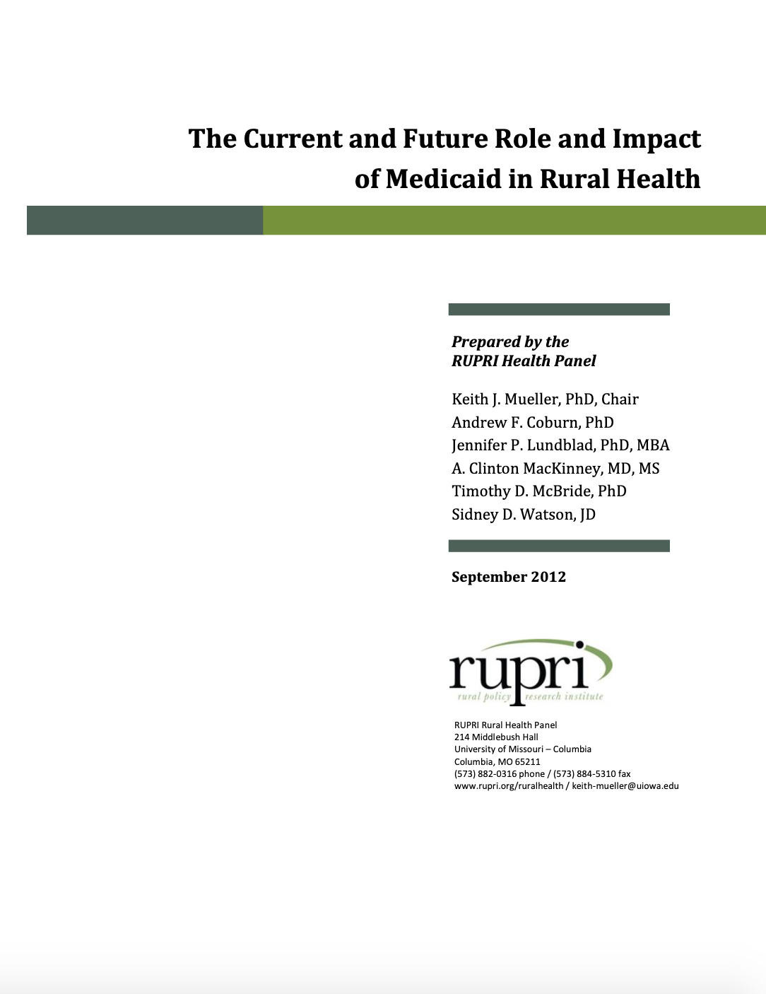 Current and Future Role and Impact of Medicaid in Rural Health (Cover Image)