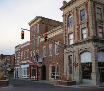 Quaint downtown corner with buildings